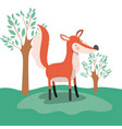 fox animal caricature in forest landscape vector image