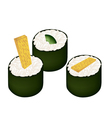 Fried Egg Sushi Roll and Avocado Maki vector image vector image