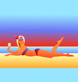 girl sunbathes on beach vector image