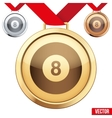 Gold Medal with the symbol of a billiard inside vector image vector image