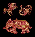 Golden Animal Horse Scorpion Elephant vector image vector image