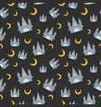 halloween seamless pattern with cute castle and vector image vector image