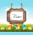 happy easter background eggs in a green grass and vector image vector image