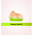 happy easter with eggs in grass vector image vector image