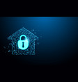 home security icon form lines and particle vector image