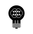 lamp with brain idea icon vector image vector image