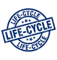 life-cycle blue round grunge stamp vector image vector image