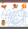 maze game with squirrel characters vector image vector image