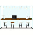 modern flat design coffee shop interior work in vector image vector image
