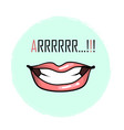 mouth with teeth and word arrrr growl isolated on vector image vector image