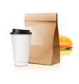 Pack set with cup and package vector image vector image