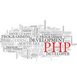 php word cloud concept vector image vector image