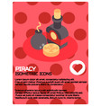 piracy color isometric poster vector image vector image