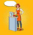 pop art cashier takes the order fast food vector image vector image