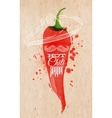 poster watercolor hot chili pepper vector image vector image