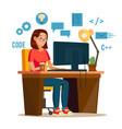 programmer woman programmer workspace vector image