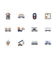 railroad flat color icons set vector image vector image