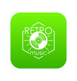 retro music icon green vector image vector image