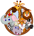 safari animal cartoon in frame vector image vector image
