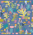 seamless floral pattern with birds on blue vector image vector image