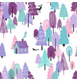 seamless pattern fairy tale winter forest vector image vector image