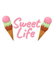 set of ice cream cartoon icon summer sundae logo vector image vector image