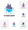 set of modern city cleaning logo design concept vector image vector image