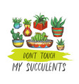 sign with cactus or banner with succulent plants vector image vector image