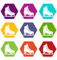 skates icon set color hexahedron vector image vector image