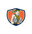 Strongman Lifting Kettlebell Crest Cartoon vector image vector image