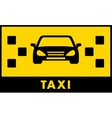 taxi cab icon with car and yellow backdrop vector image