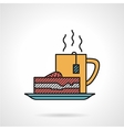 Tea and cake flat icon vector image