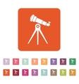 The telescope icon Spyglass symbol Flat vector image