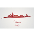 Venice skyline in red vector image vector image