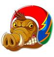 wild boar wearing helmet racer vector image