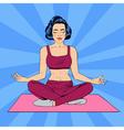 Woman in Yoga Pose Woman Meditation Pop Art Banner vector image