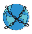 world planet earth with chain vector image