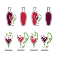 set of wine bottles and wineglasses vector image