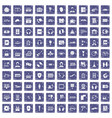 100 headphones icons set grunge sapphire vector image vector image