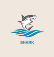 angry shark icon vector image vector image