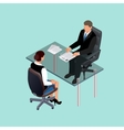Business people in suit sitting at the table vector image