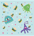 cartoon monsters eating burgers vector image