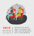 cartoon people watching movie in the cinema vector image vector image