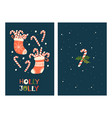 christmas greeting cards with candy cane vector image