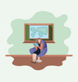 classroom with female teacher reading book in the vector image vector image
