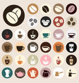 coffee icons colored vector image vector image