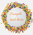 colorful confetti background with round plate vector image
