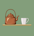 copper kettle with white cup vector image
