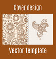 cover design with henna mehendi pattern vector image vector image
