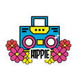 cute hippie radio with flower and message vector image vector image